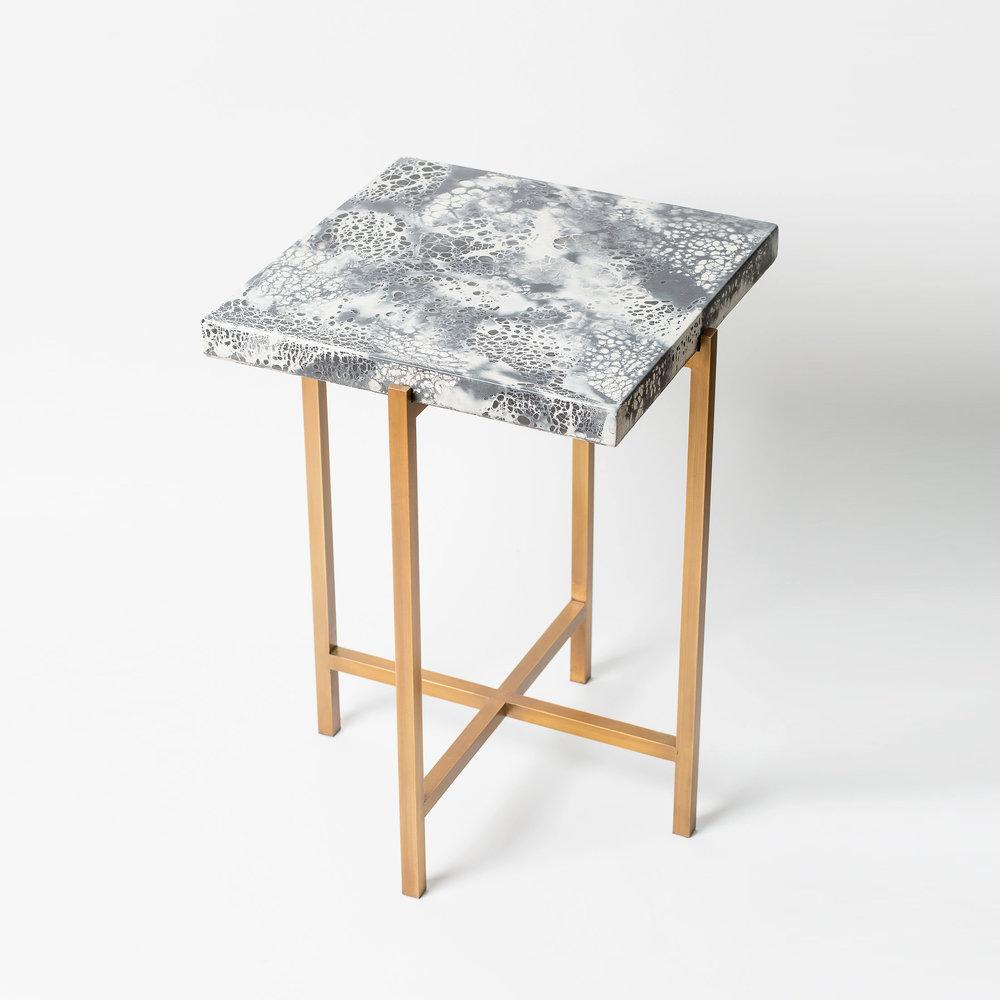 "SQUARE CONCRETE SIDE TABLE  14.5"" L x 14.5"" W x 20"" H  Antique brass base & black and white concrete top"
