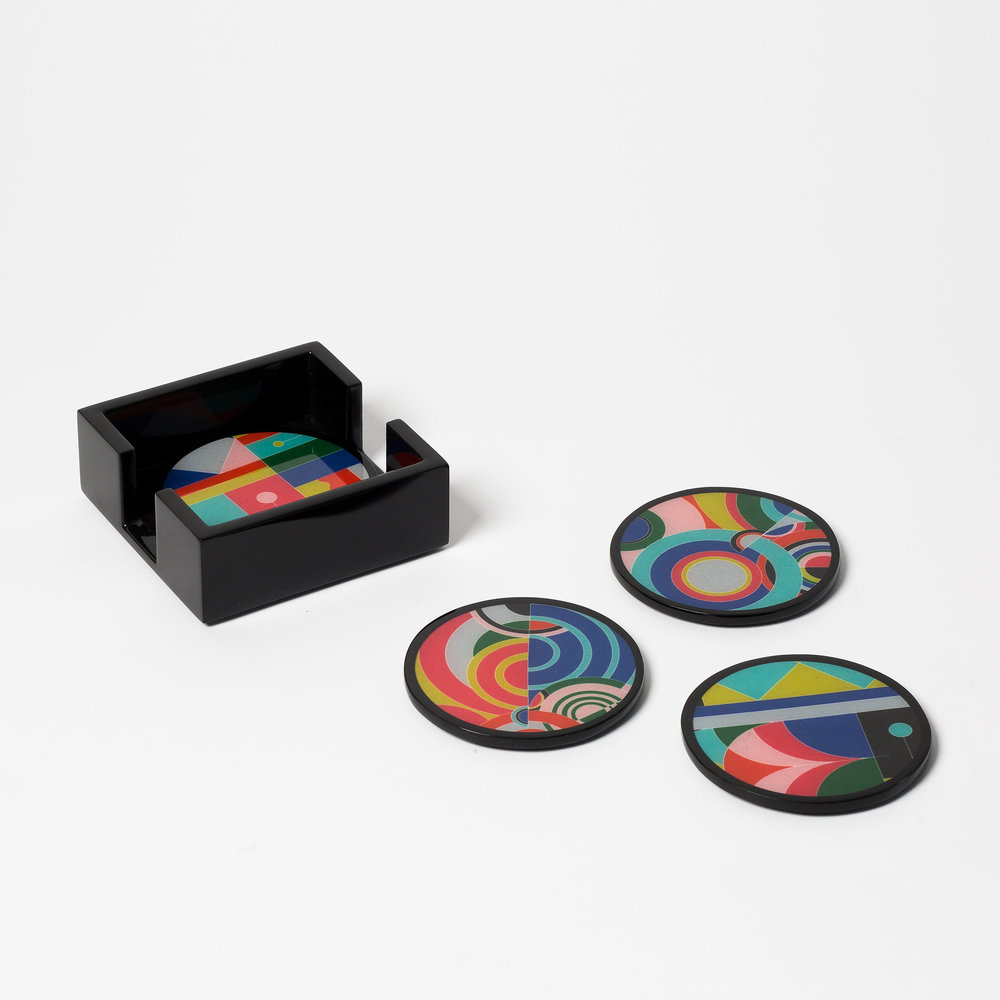"""COASTER SET, BRIGHTS  4.5"""" D  Fabric & lacquer, set of 4 with holder"""