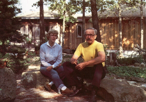 Mary Lou and Art Corn outside their newly finished home in 1981.