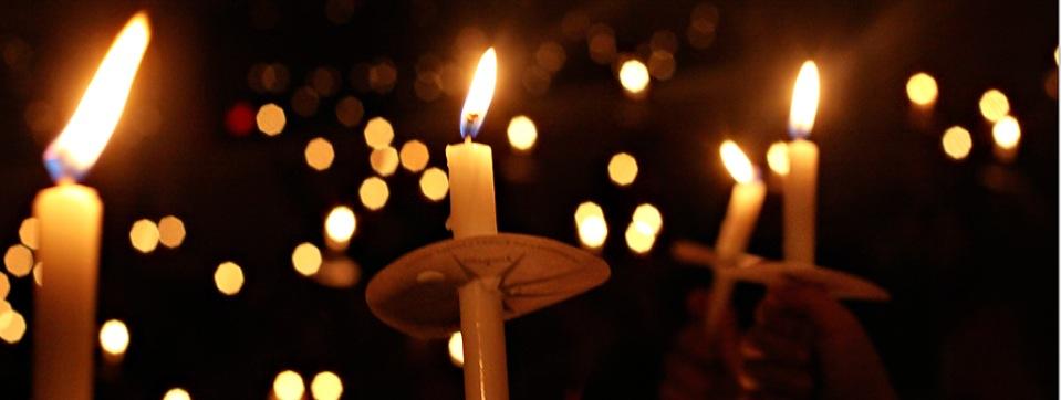 Candle lit church service