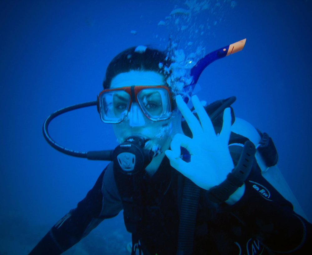 My first dive in the Red Sea of Egypt. As you can see by my dive signal, everything was a-ok!