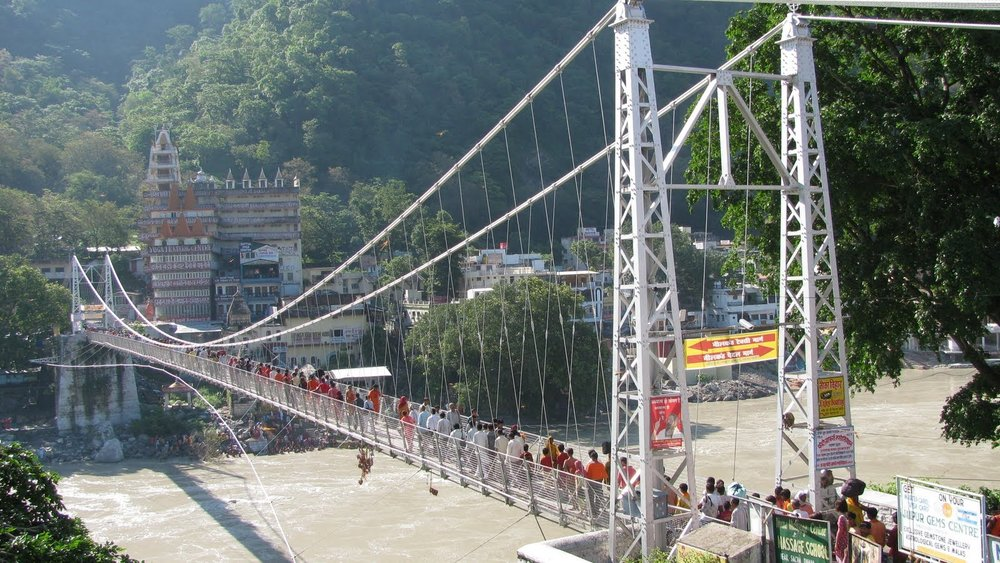 The famous bridge in Rishikesh, India - Lakshman Jhula