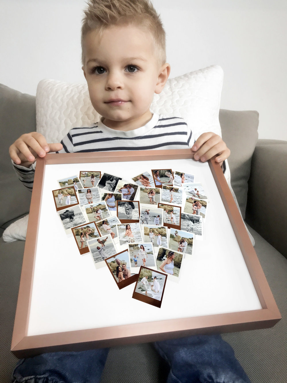 Aiden fell in love with our MInted  Heart Snapshot Mix™ photo art print  - and of course, he loved pointing to mommy, daddy and Aiden.