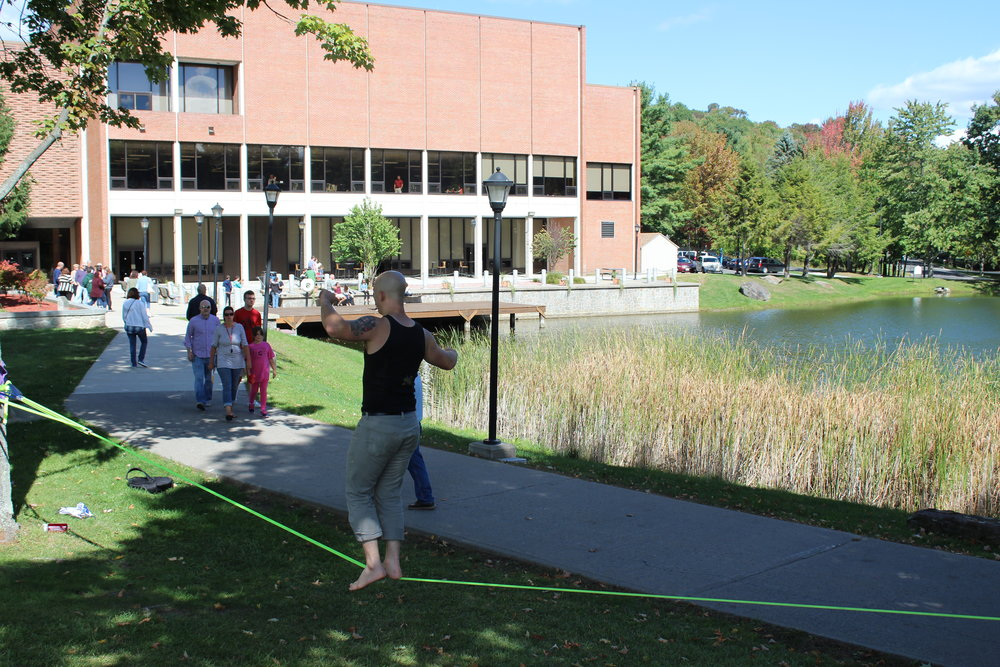 From Family Weekend up at Hunt, with Mike Barr on the slack line.