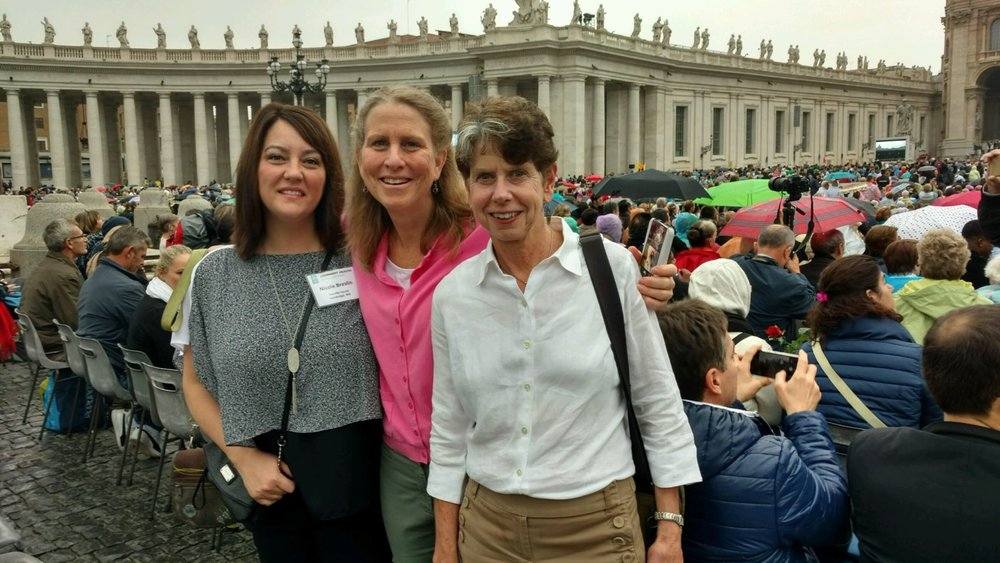 Youville CEO Nicole Breslin, Youville Board Member Leslie Adkison and Youville COO Joanne Scianna attend the Papal Audience at St. Peter's Basilica on Wednesday, October 26th, 2016, during the Covenant Pilgrimage to Rome.