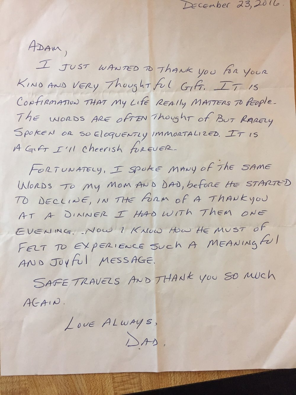 Sid's note to his son, Adam, expressing his gratitude for his custom Feature