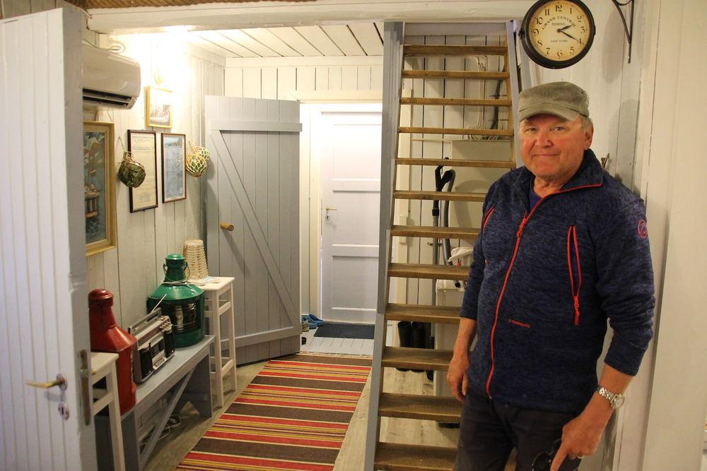 Overnatting på Å,Lofoten, rorbu. Bilde av fellesareal.