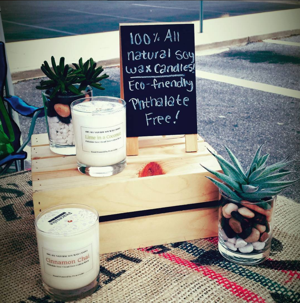 Peacesake candles.  Locally + hand made, natural, eco and health friendly.  Did we mention the to-die-for scents?  We're burning their candles now in the studio...