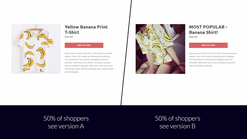 Split Test App for Shopify - Different Versions Side by Side