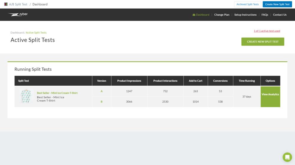 Split Test App for Shopify - Dashboard Analytics