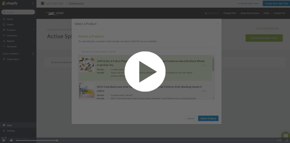 Split Test Tutorial Video for Shopify