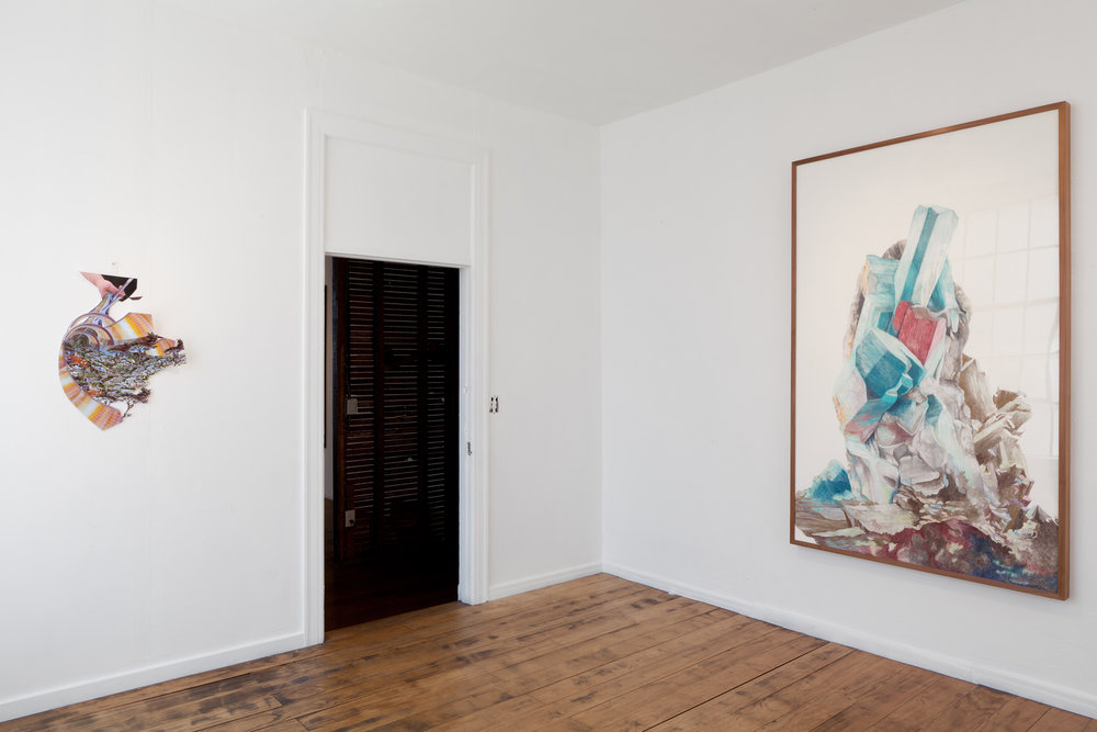 Amazonite(Drawing) and Holding Colony(collage) Install View