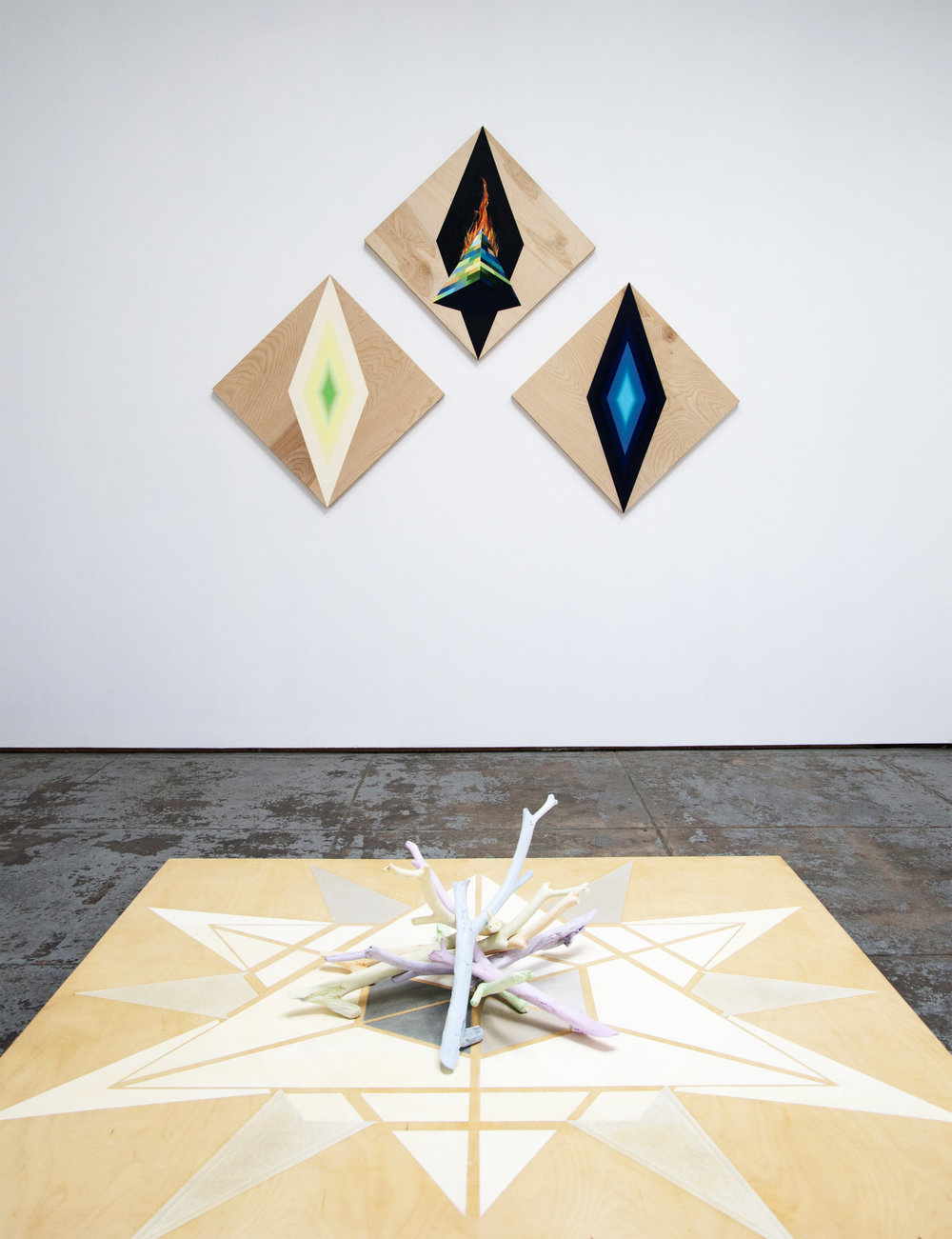 Obelisk on fire (Triptych) and Dodecagram floor painting & Bundle of cast branches