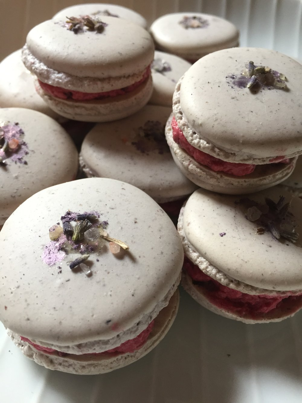 Viewing Party -Lavender Black berry macarons.JPG