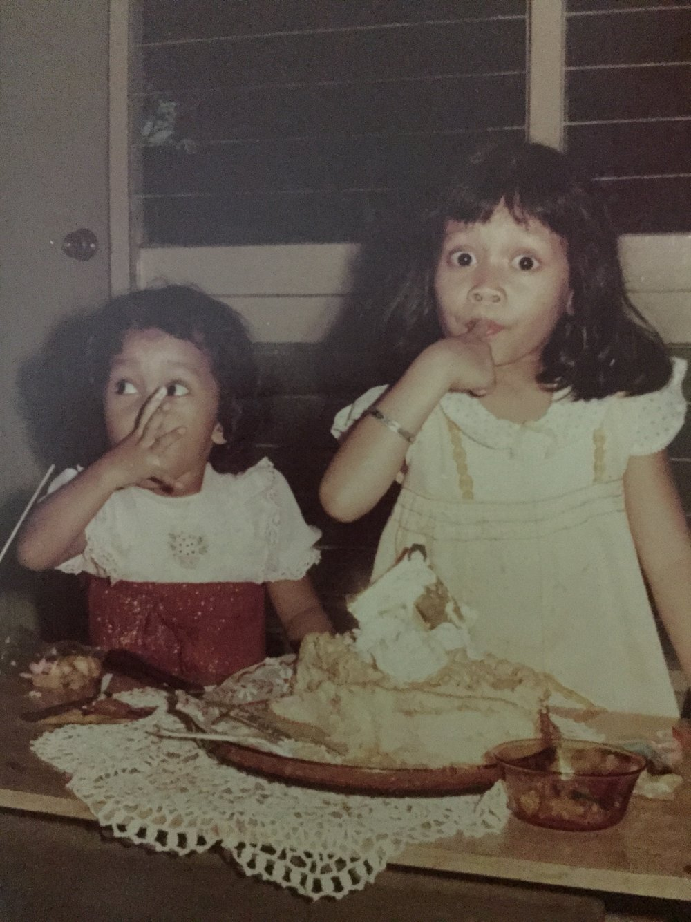 Me and lil' sis enjoying my birthday cake.