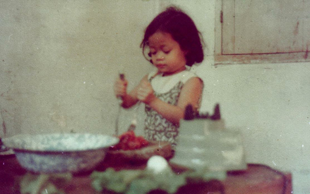Baby me tenderizing meat.