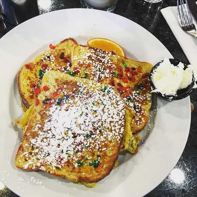 Yes, that is Fruity Pebble French toast and no, I don't plan on living past 30...but it was worth it. @irontowndiner