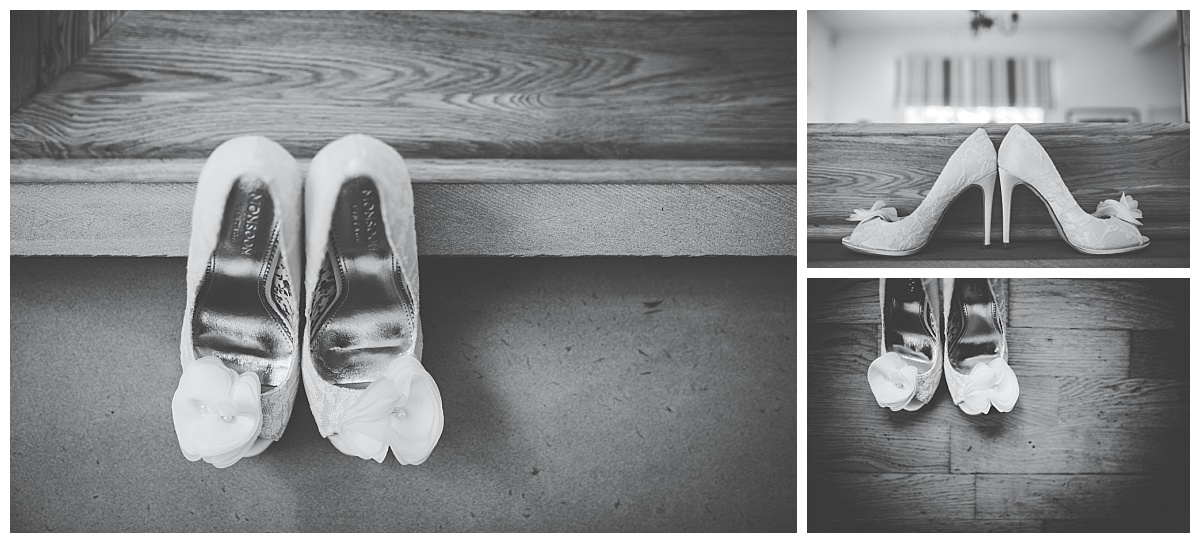 bride's shoes - getting ready at Samlesbury Hall