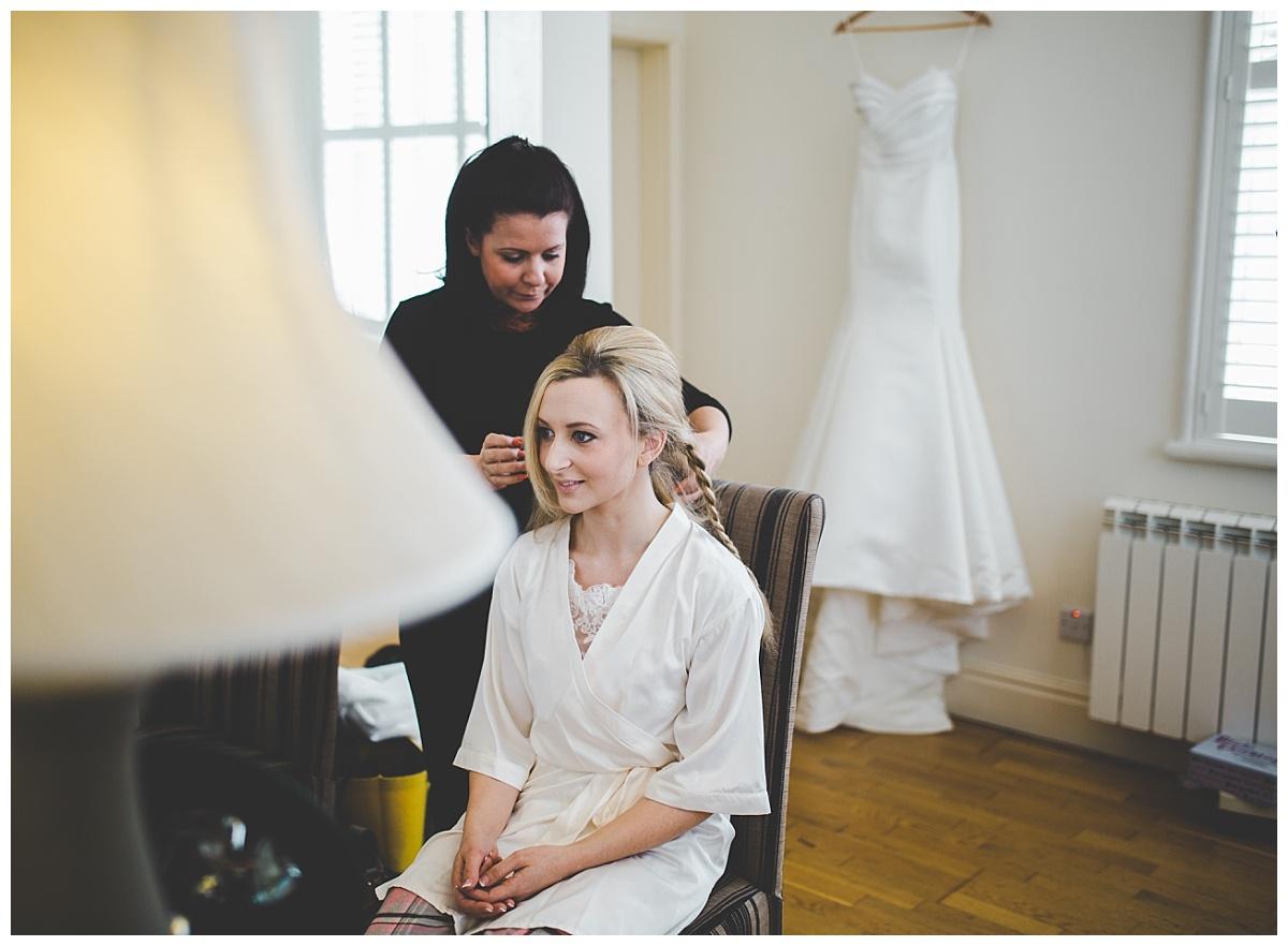 bride getting ready - samlesbury hall wedding