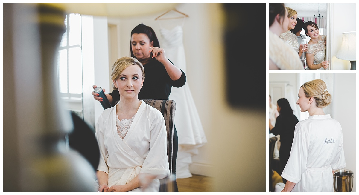 last bit of prep - having hair done full day wedding photographer