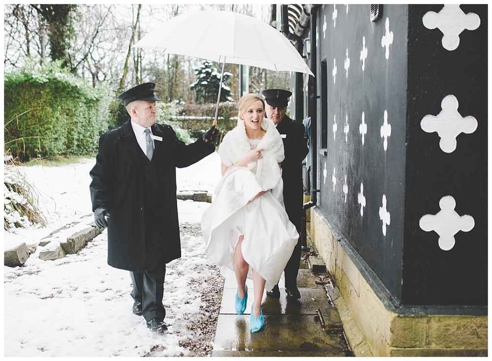 snowy winter wedding at samlesbury hall preston lancashire