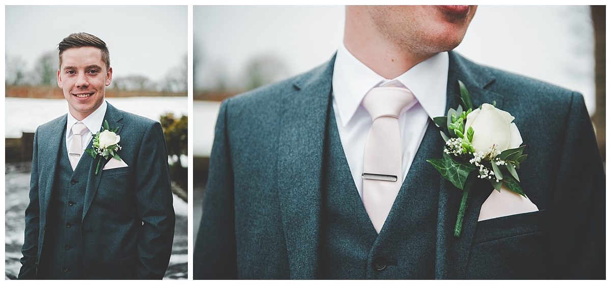creative wedding photography in lancashire - close up of groom