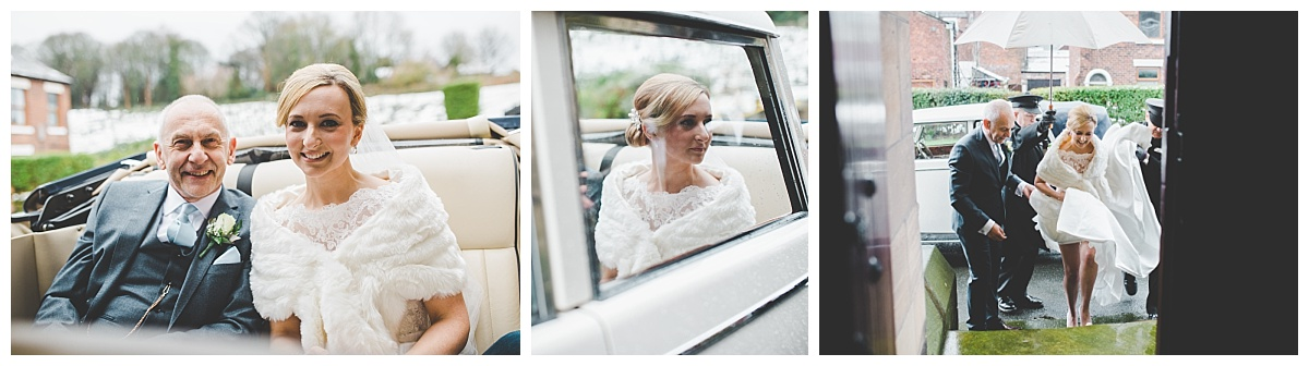bride arrives at church. creative wedding photography in lancashire