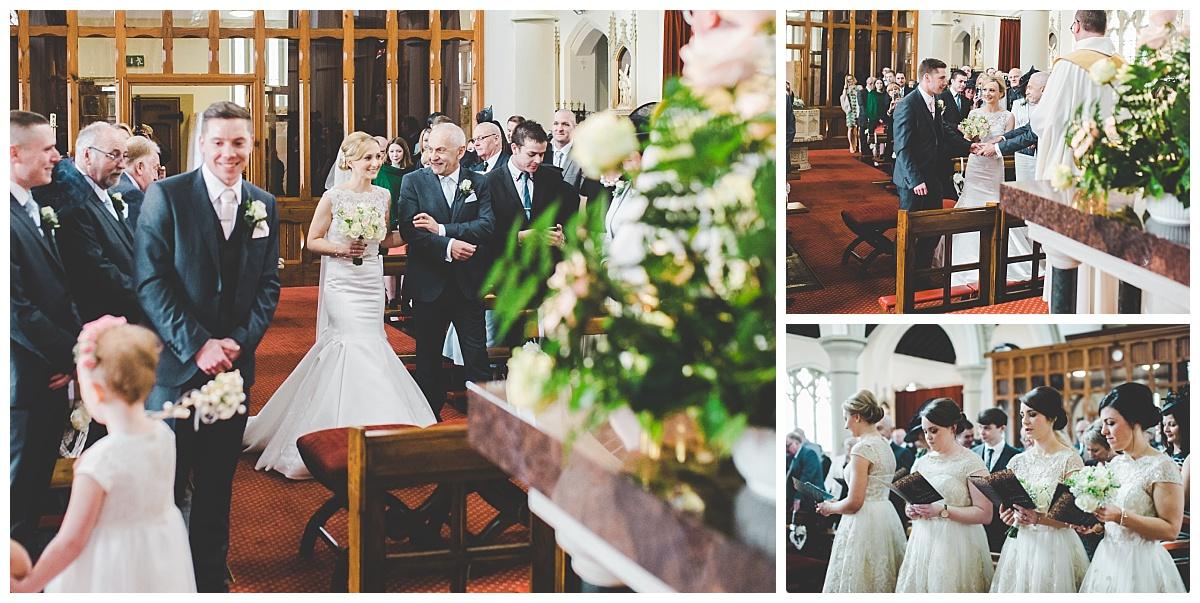 bride walking down the aisle at preston wedding