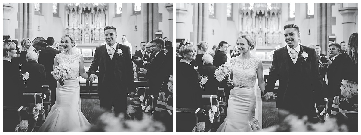 walking down the aisle - wedding photography in Lancashire
