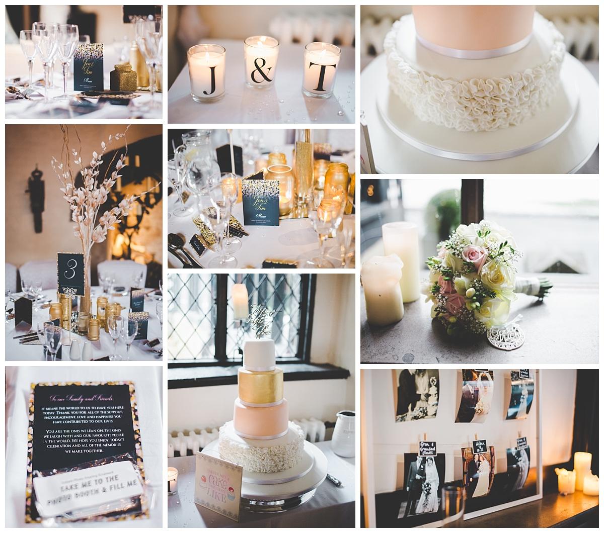 gold and navy wedding theme - samlesbury hall wedding