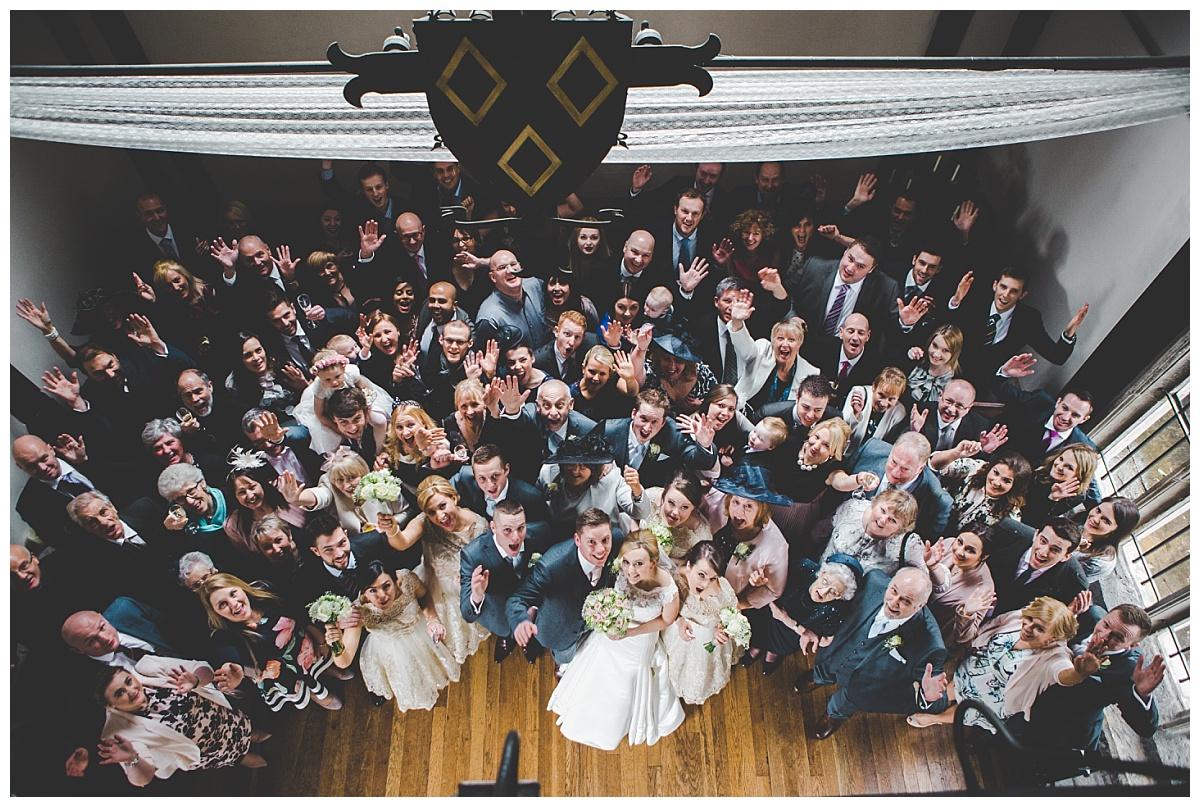 whole group shot - creative wedding photographer at samlesbury hall wedding