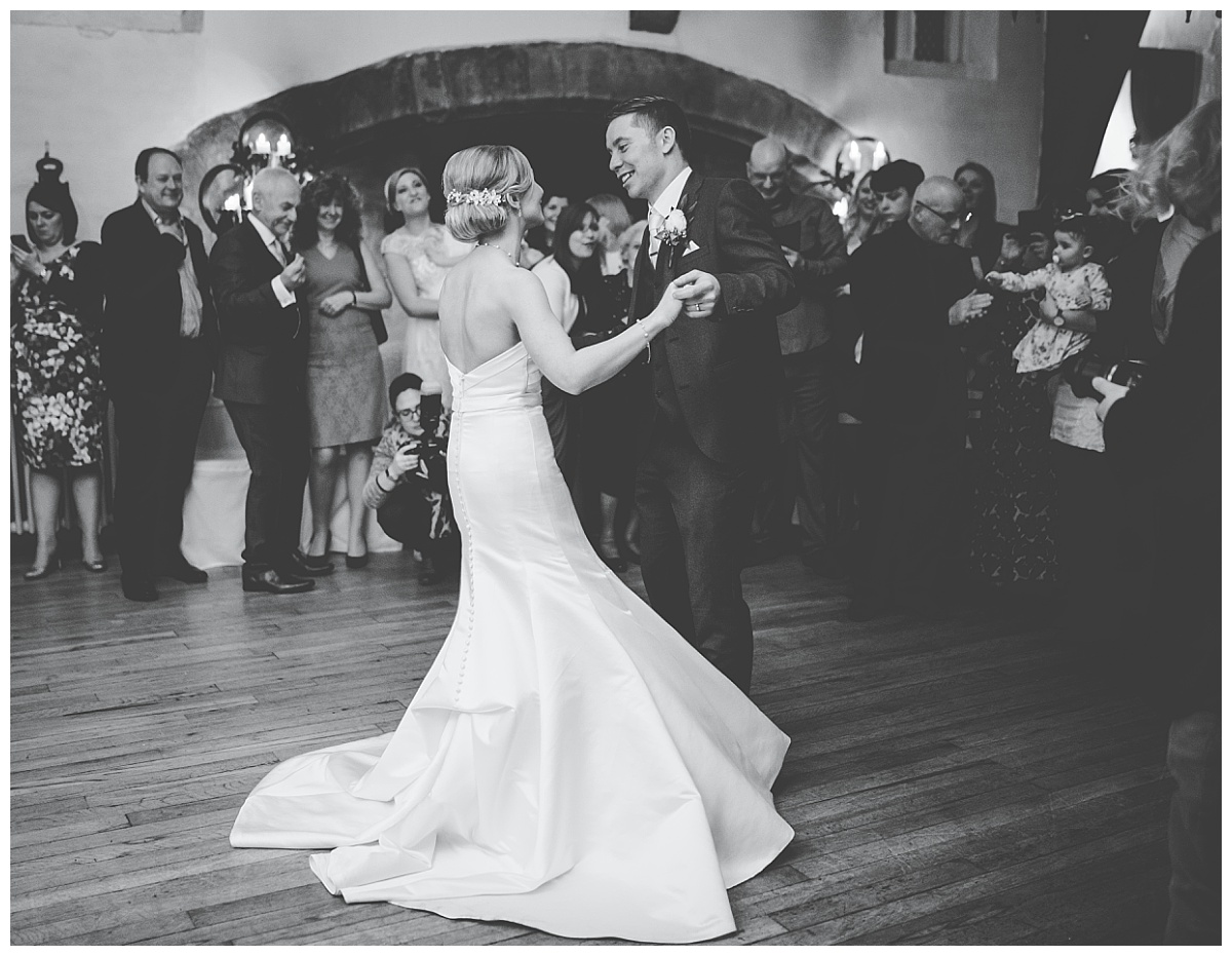 first dance for bride and groom at samlesbury hall wedding