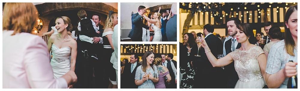 bride and groom and guests dancing at samlesbury hall wedding