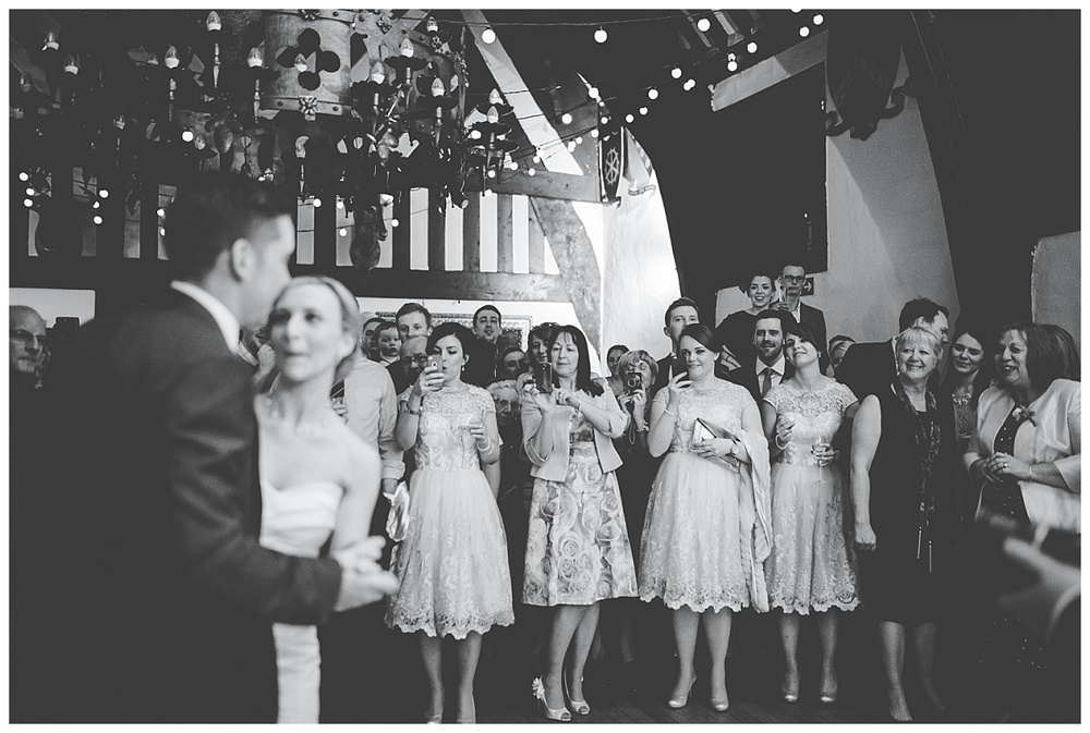 bridesmaid watch on at Samlesbury Hall wedding