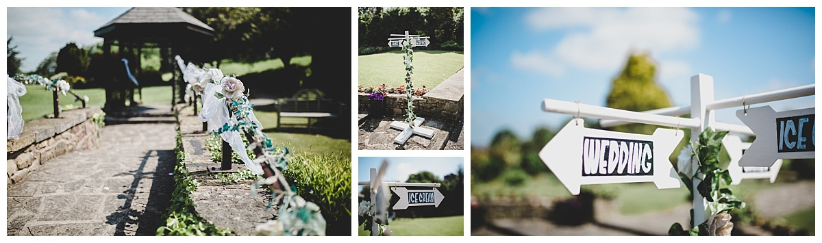 festival themed wedding decoration - vintage signs