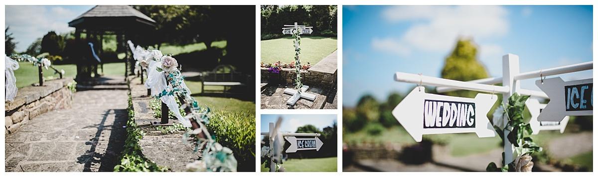 festival themed wedding decoration - vintage signs
