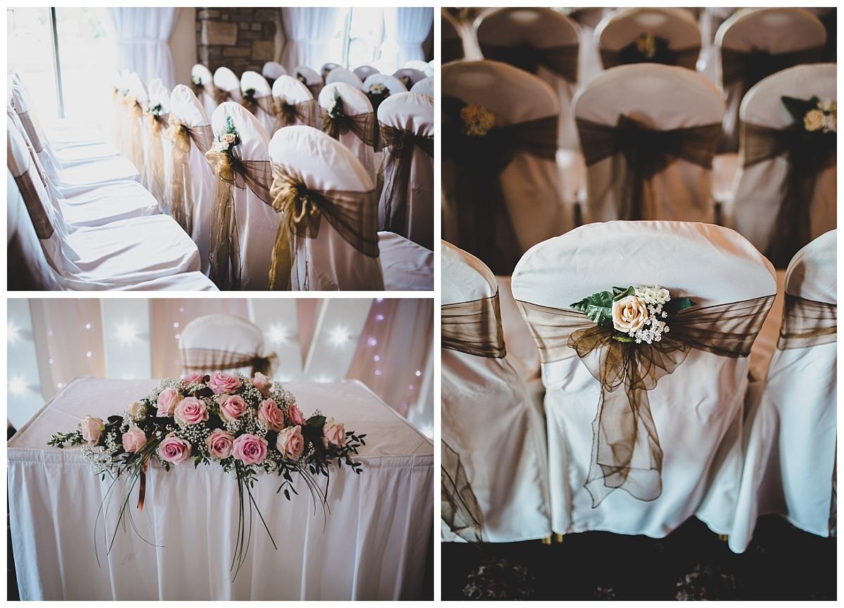 ceremony room at mytton fold wedding venue all set up