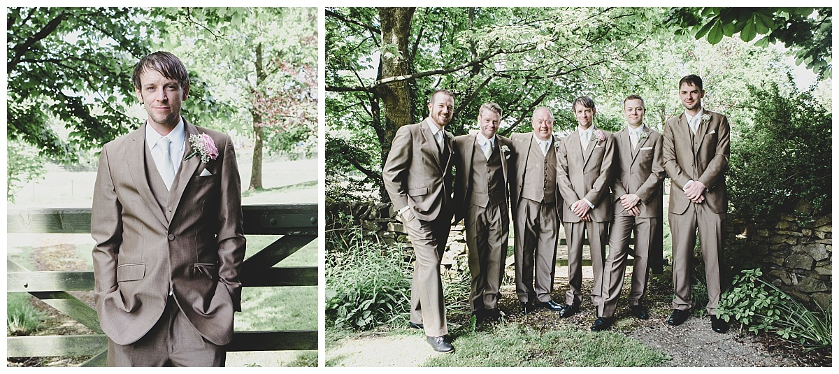 groom and groomsmen portraits - brown suits