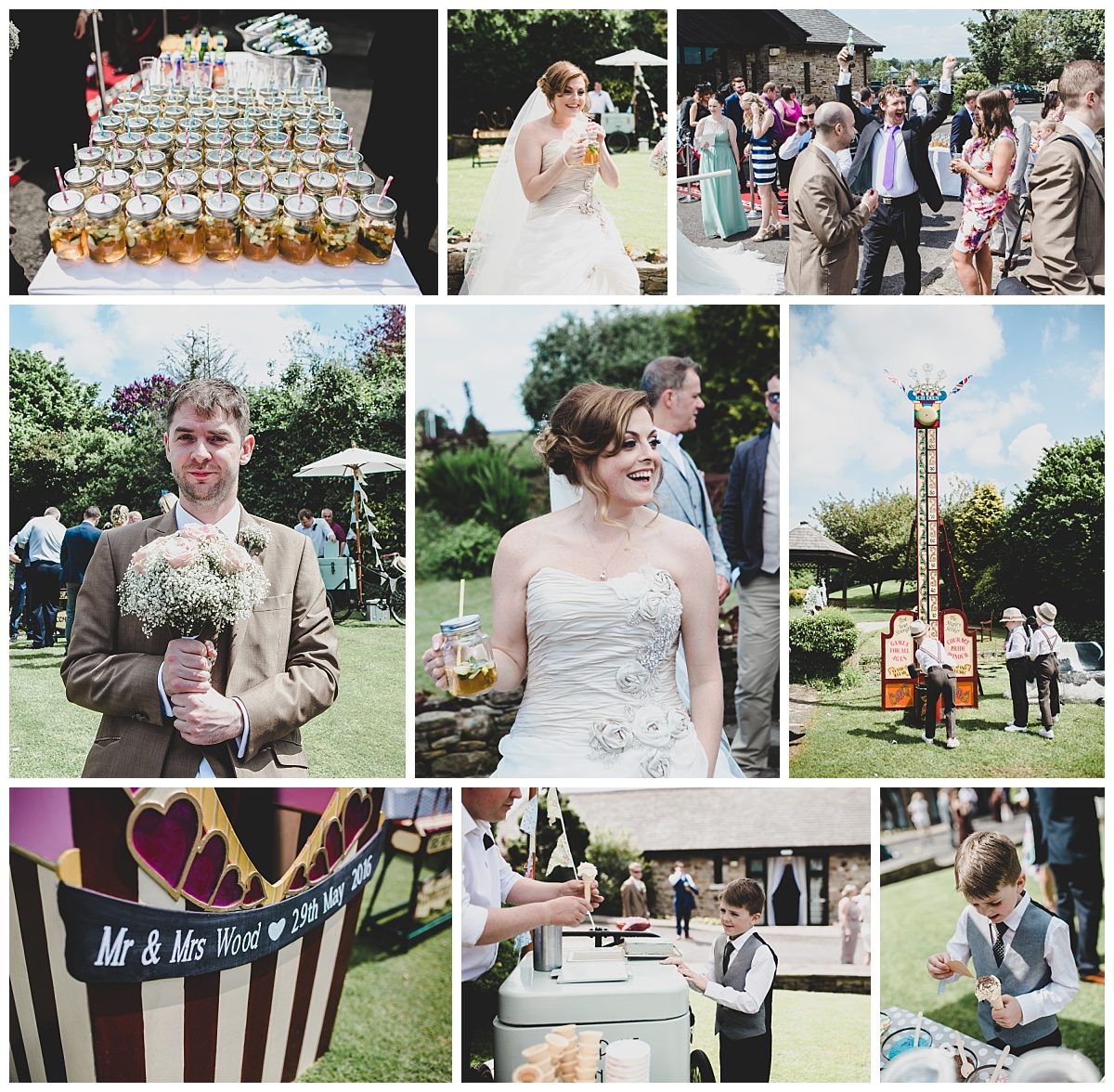 festival themed wedding - documentary shots of guests and outdoor games