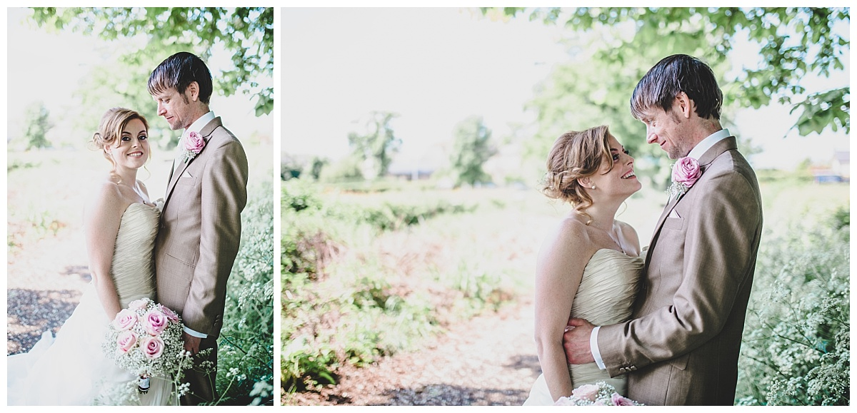 creative photography - bride and groom images in the gardens at mytton fold