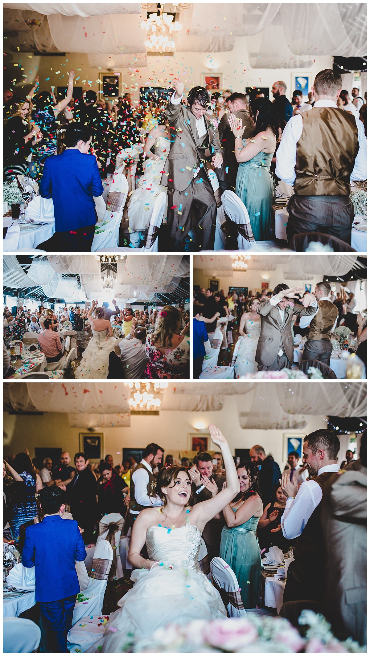 an amazing entrance to the wedding breakfast at mytton fold - confetti cannon