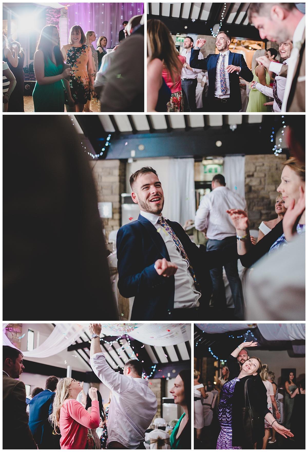 guests dancing at mytton fold wedding reception