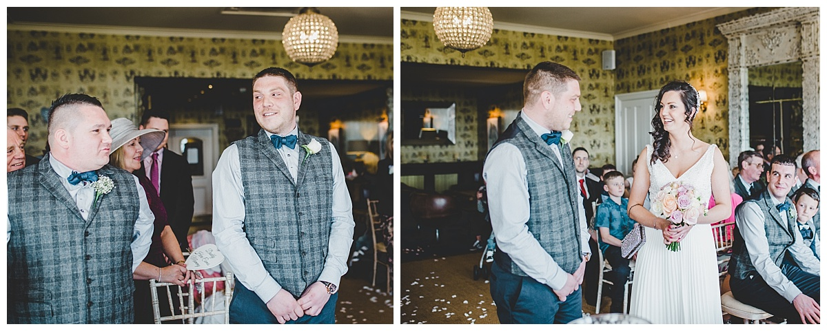 Ribble Valley Wedding Photographer - Shire burn Arms wedding - groom sees bride