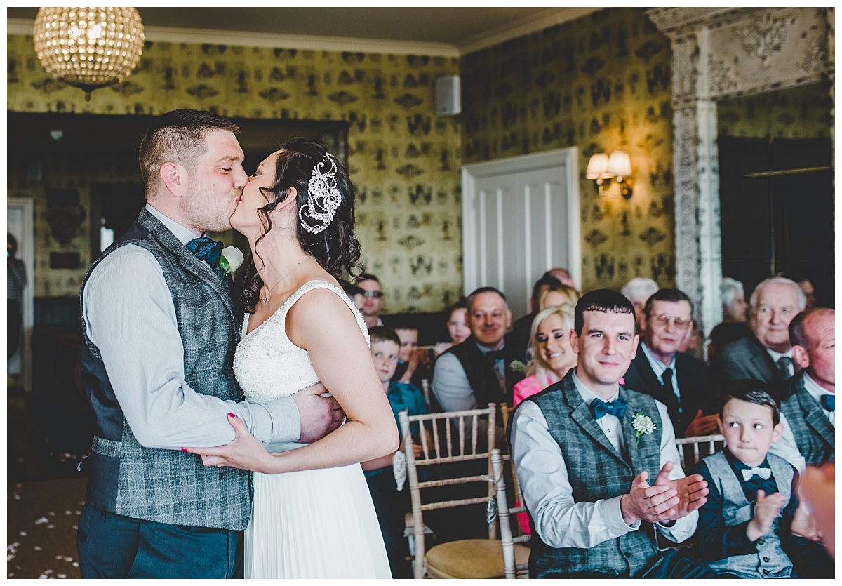 first kiss - relaxed country pub wedding in Ribble Valley