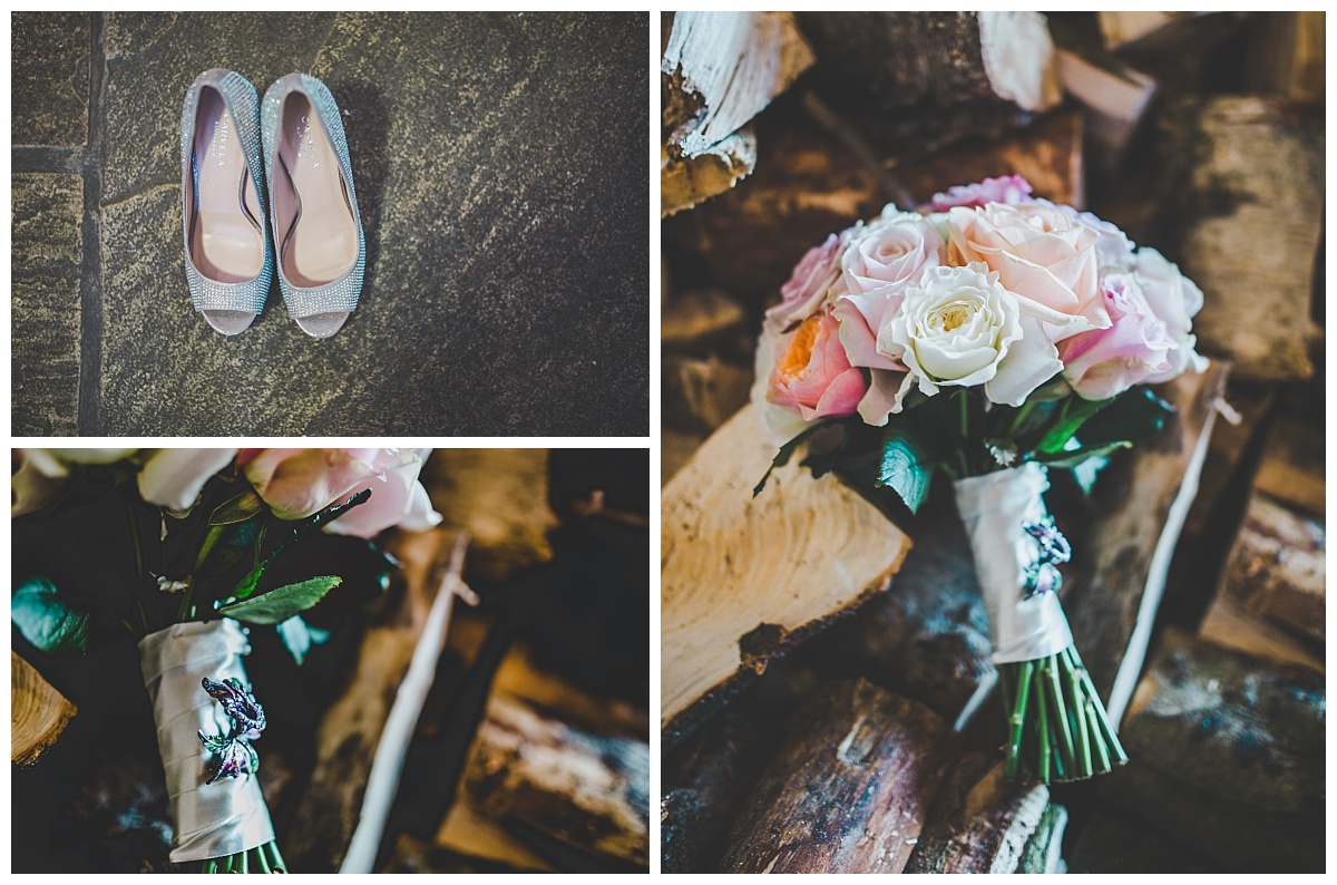 the bride's shoes and flowers at Shireburn Arms wedding