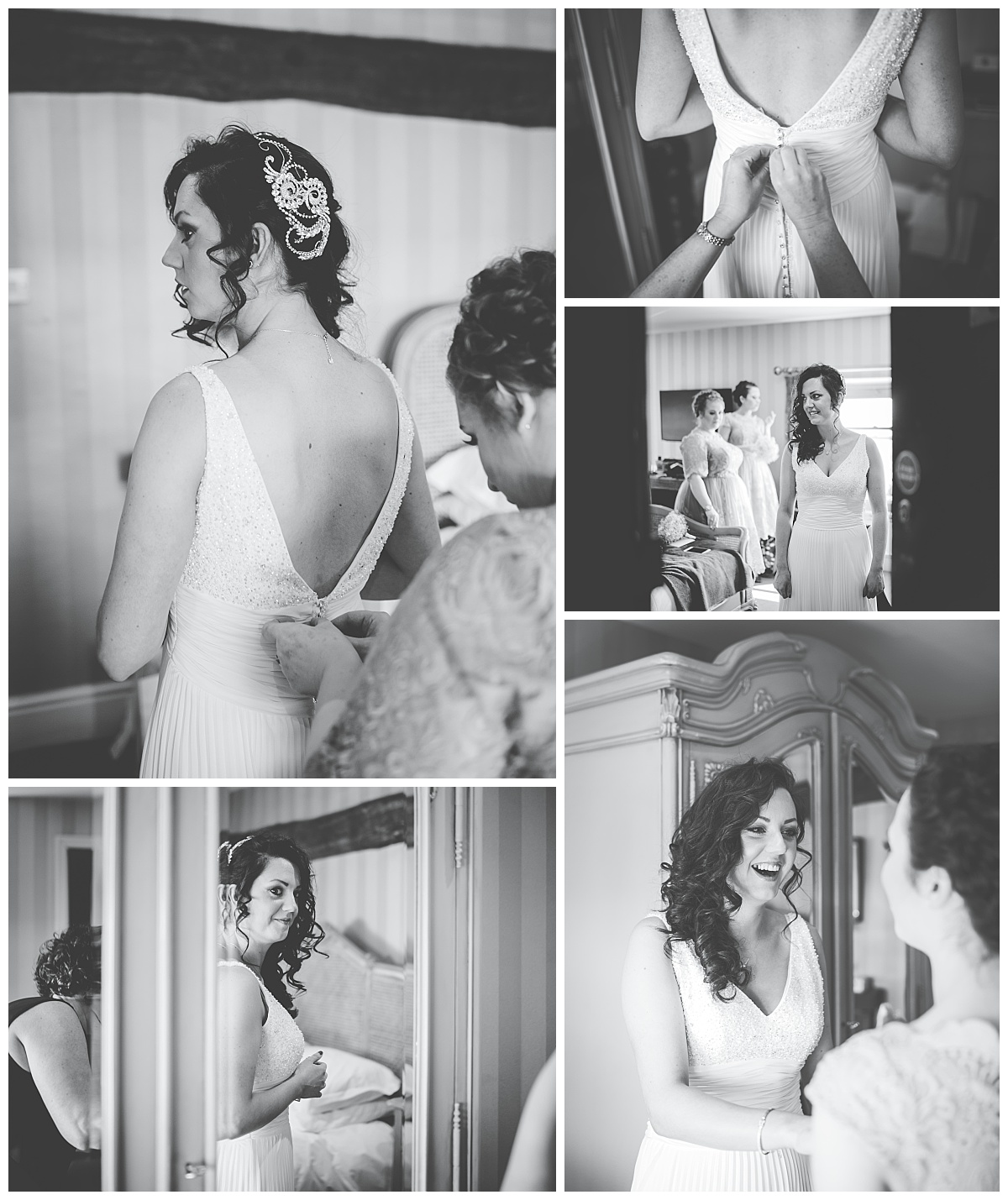 bride getting dressed - wedding photographer in Lancashire at Shireburn Arms wedding