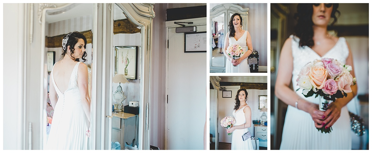 bridal portraits in the honemoon suite at Lancashire wedding - Shireburn Arms Clitheroe