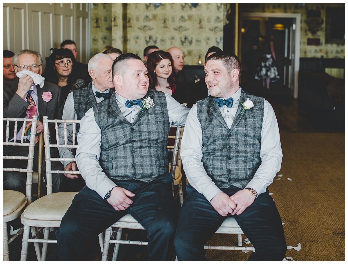 groom and best man at Shireburn Arms wedding