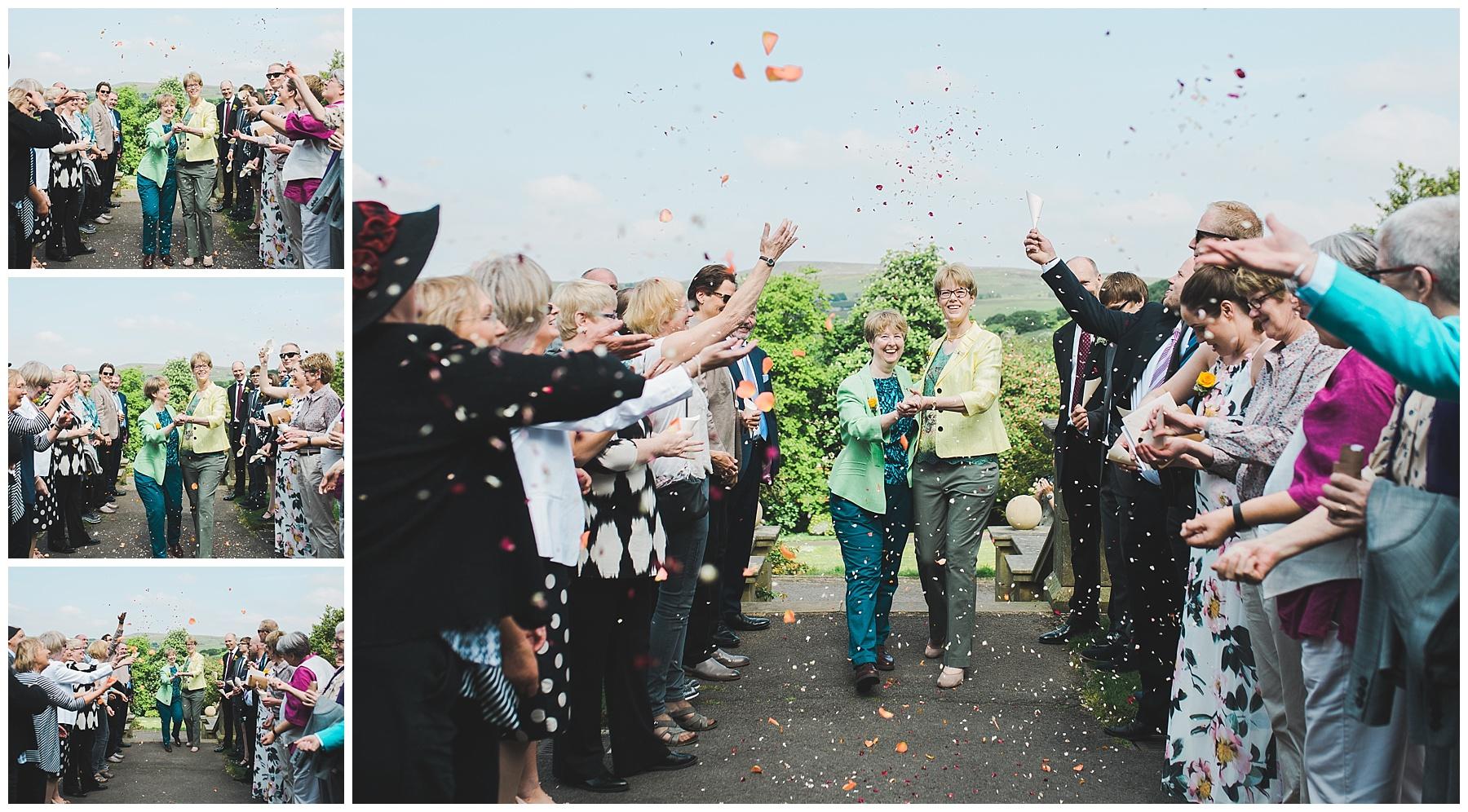Confetti outside the wedding venue in Lancashire