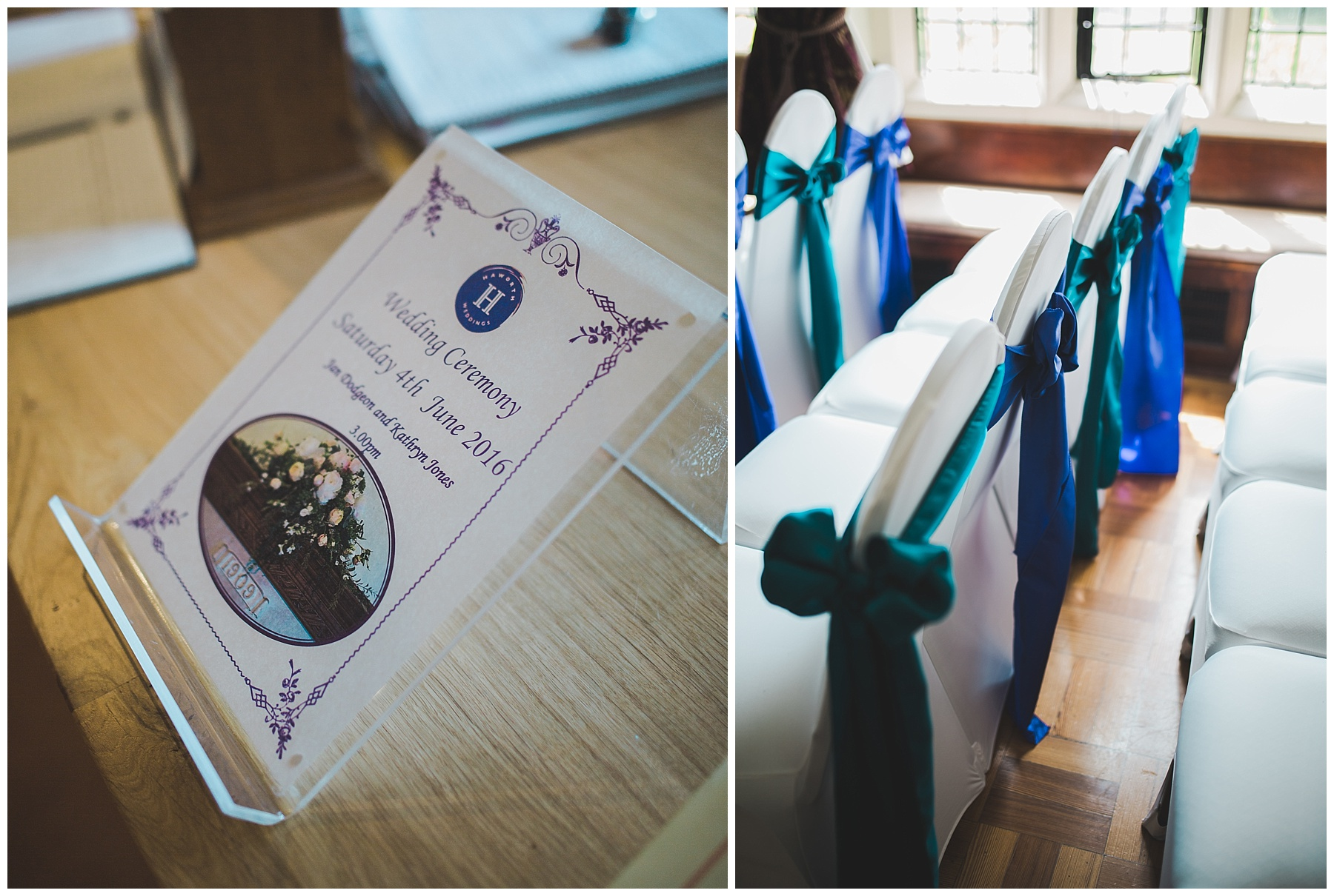 Room decoration details at Haworth Art Gallery wedding